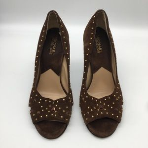 Michael Kors Brown Jewel Leather Heels 7.5